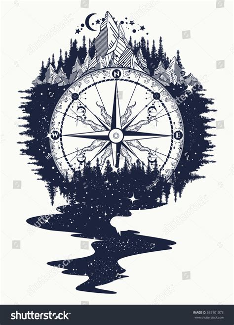 compass mountains river stars flows tattoo stock vector