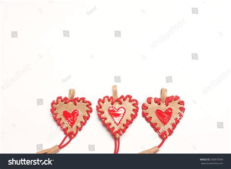 Handcrafted Hearts - hearts on white background handmade stock photo