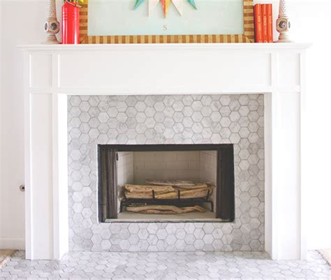 Fireplace Tile Home Depot by Carrara Bianco 3 Hexagon Honed Fireplace The Builder