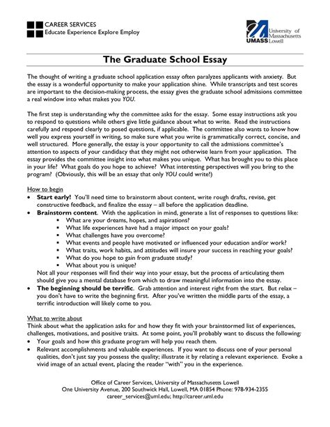 Essay Graduate Application graduate school application essay grad school essays
