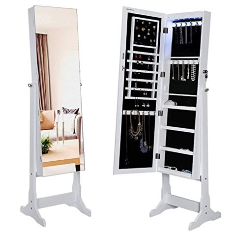 white standing jewelry armoire songmics standing jewelry armoire with led light white