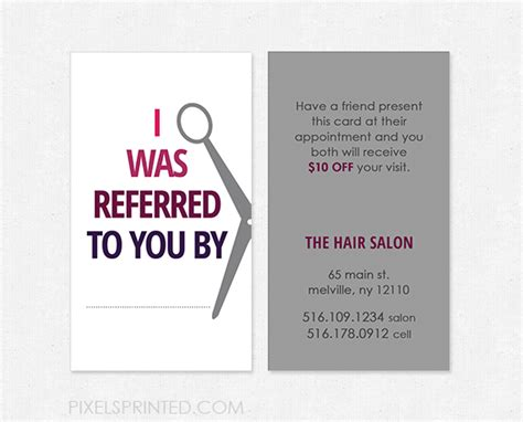 salon referral cards templates hairstylist referral cards hair salon referral cards