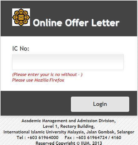 Offer Letter Uia Kuantan iqa sistem mudah atau rumit