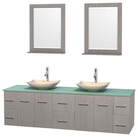 Green Glass Vanity by Centra 80 Quot Grey Oak Vanity Green Glass Top Arista