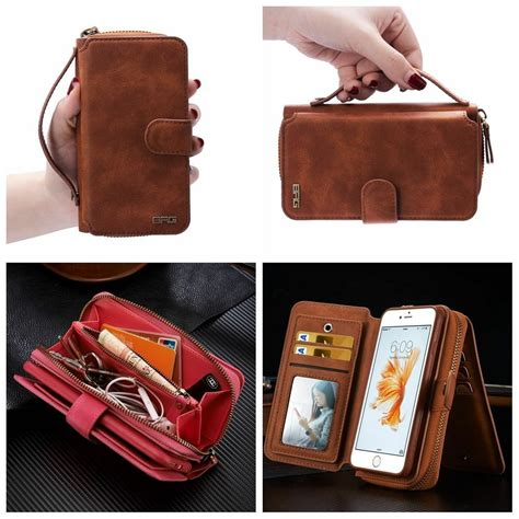 leather magnetic wallet zip purse flip handbag cover for iphone 6 6s plus ebay