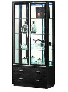 Black Display Cabinet With Drawers Corona Black 2 Door 2 Drawer Display Cabinet Black