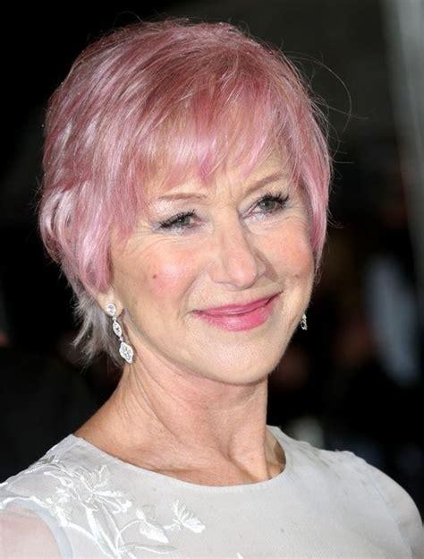 Helen Mirren Short Pink Haircut with Bangs for Women Over