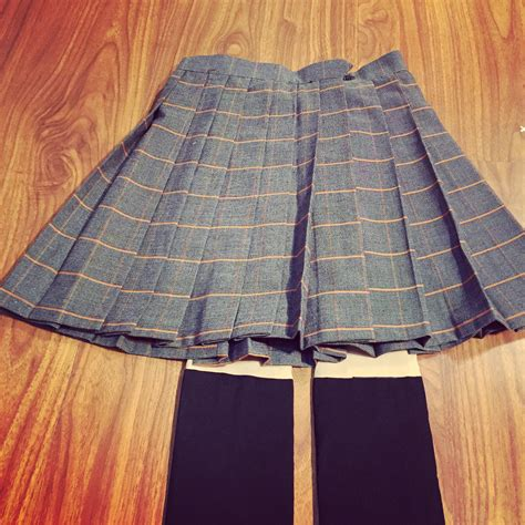 japanese school uniforms daily lattice solid pleated skirt