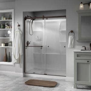 Shower Doors Ta Delta Portman 60 In X 71 In Semi Frameless Contemporary Sliding Shower Door In Bronze With