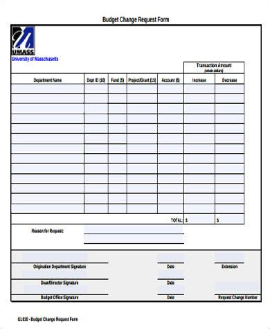 9 Sle Budget Request Forms Sle Templates Budget Request Template
