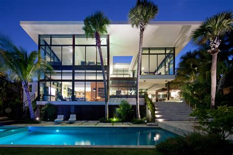 miami home design usa traditional street facade hides modernist home on miami lake