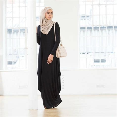 Inayah Maxi inayah black cascade abaya paired with the washed mink