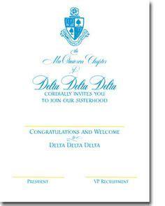 Bid Day Card Sorority Recruitment Template by Alpha Xi Delta Sorority Bid Day Cards Large