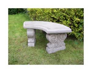 Rock Benches For Garden Large Curved Garden Bench Cast Garden Ornament Concrete Onefold Uk Ebay