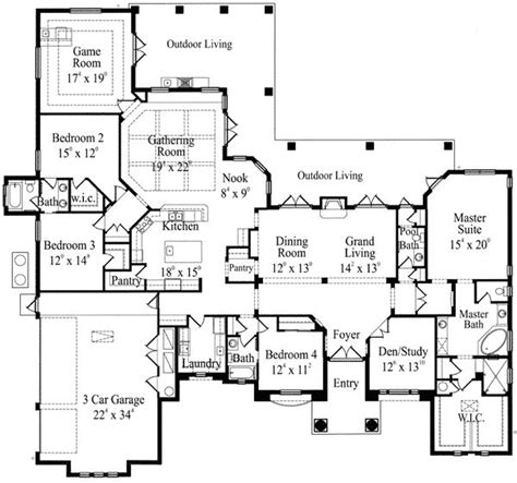 game room floor plans grand mediterranean home with game room