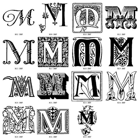 alphabet tattoo monogram initial m fonts decorative letters click on letter of