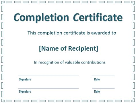 sample certificate for ojt completion fresh 6 certificate of