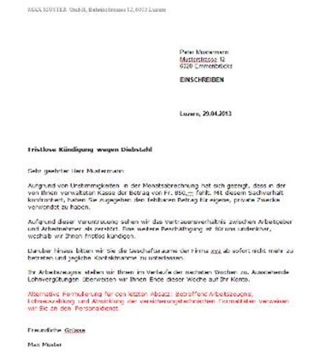 Wohnung Anfrage Brief K 252 Ndigung Durch Arbeitgeber Vorlage Kostenlos Muster Vorlage Ch