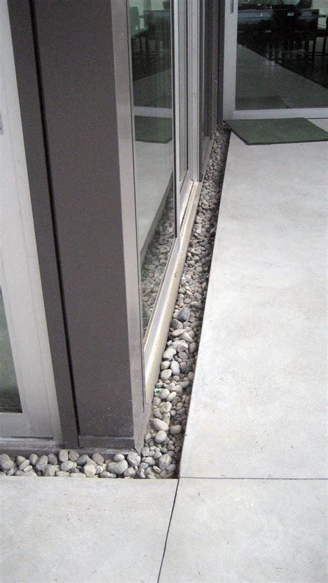 Patio Drainage Gully by Trench Drain Between Sliding Door And Concrete Slab 0