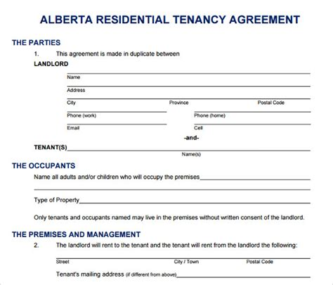 lease agreement template alberta printable lease agreement 8 documents for free