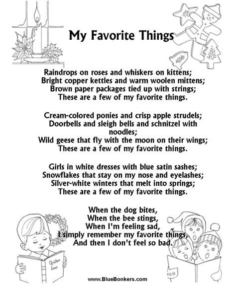 printable lyrics sound of music printable christmas carol lyrics sheet my favorite
