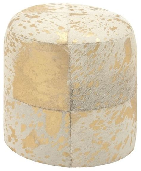 gold leather ottoman chic wood leather hide silver ottoman contemporary