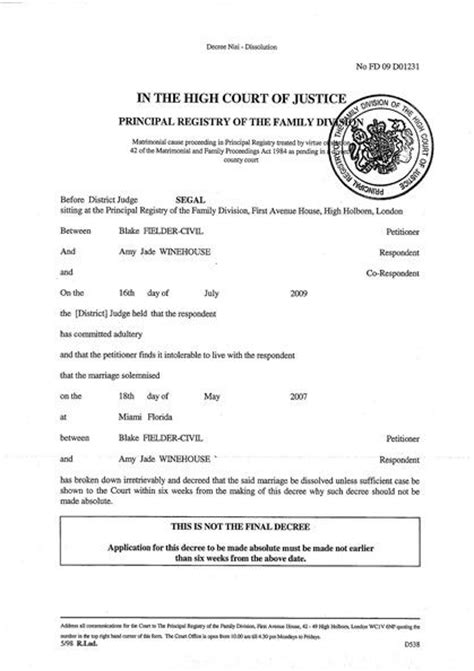 Printable Sample Divorce Papers Form   Laywers Template