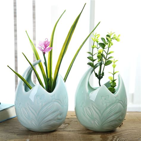 Decorative Pots And Vases by Creative Orchid Carving Celadon Porcelain Egg Shaped