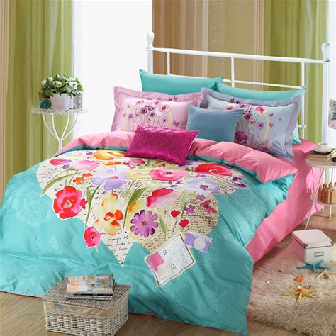 light blue quilt set light blue and pink beautiful floral bedding set