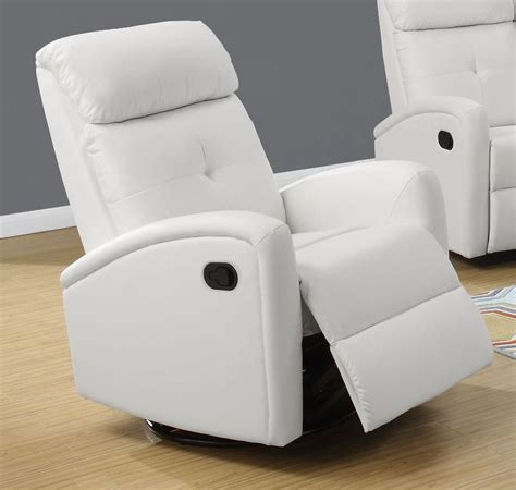 White Leather Swivel Recliner 8088wh white bonded leather swivel glider recliner 8088wh