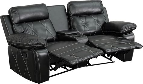 Comfort Seating Furniture by Buy Real Comfort Series 2 Seat Reclining Black Theater Seating Unit W Curved Cup Holders At
