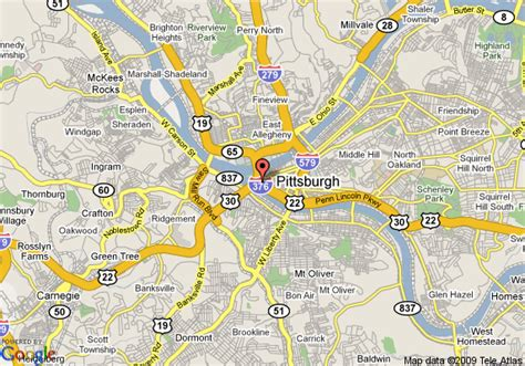 google pittsburgh map of hilton pittsburgh and towers pittsburgh
