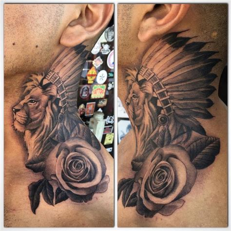 neck tattoo lion rudy lopez good fortune tattoo tattoos body part neck