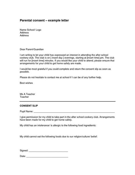 authorization letter for care of child parental authorization letter for exle children