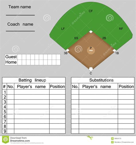 lineup template baseball field lineup template