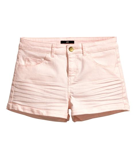light pink shorts lyst h m short twill shorts in pink