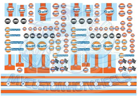 gulf car logo gulf racing waterslide decals custom hotwheels model cars