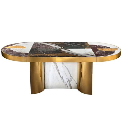 brass dining table half moon marble and brass dining table for sale at 1stdibs