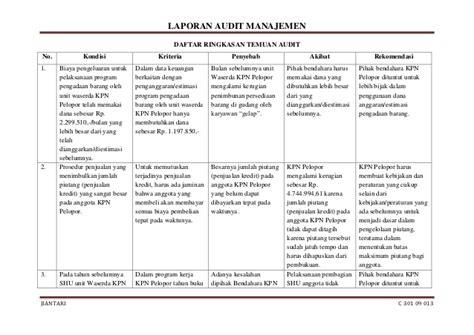 format laporan audit internal laporan audit manajemen pada kpn pelopor donggala