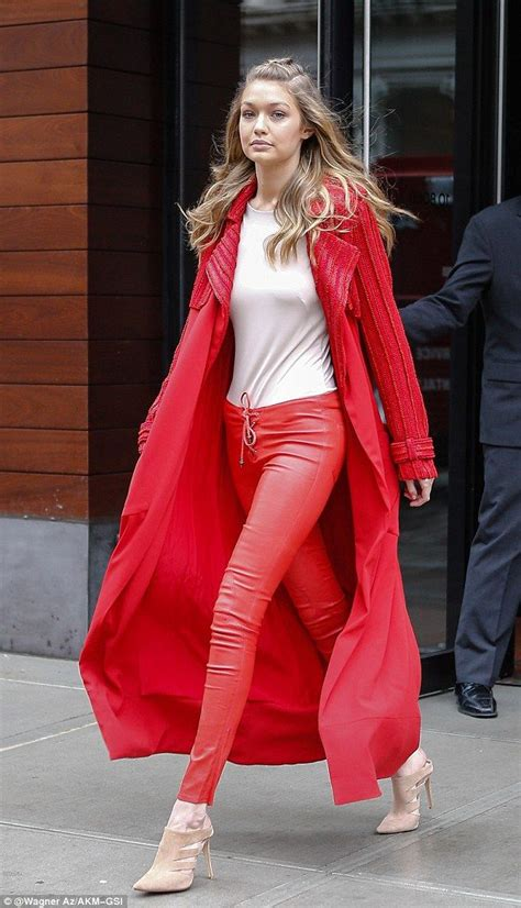 more pics of gigi hadid leather pants 1 of 14 leather pants lady in red gigi hadid wears bright scarlet coat and skin
