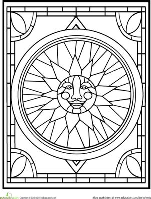 stained glass mandalas an educational coloring book books stained glass window worksheet education