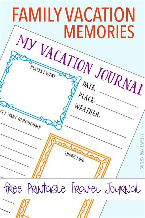 printable summer journal pages free printable travel journal for your family vacation