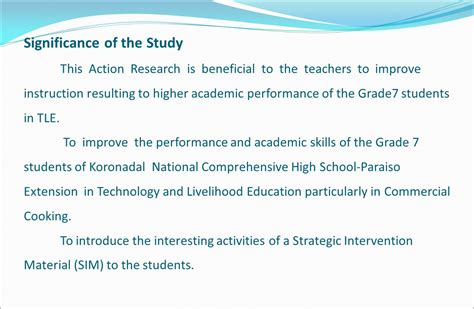 How To Make Significance Of The Study In Research Paper - the effects of strategic intervention material in ppt