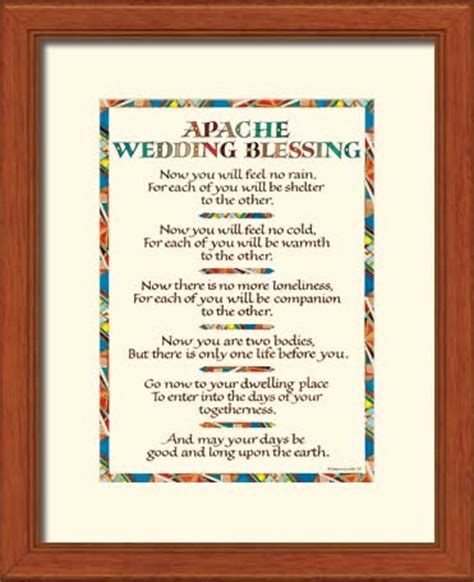 Apache Wedding Blessing Version by Apache Wedding Blessing Print Wedding Gift 11x14 Quot Framed