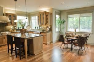nice Open Kitchen Concept Ideas #2: Good-looking-kitchen-dining-room-design-ideas-presenting-round-dining-table-and-wicker-dining-chairs-also-laminate-wooden-floor-plus-small-pendant-lamp.jpg