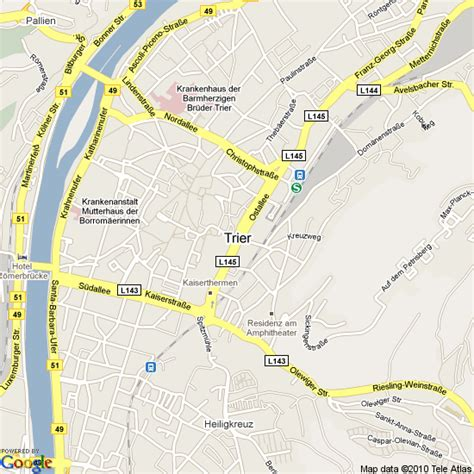 map  trier germany hotels accommodation