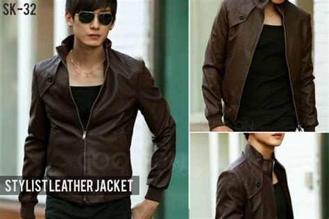 Jaket Kulit Exclusive Coklat Sk 32 fashion cowok korean style