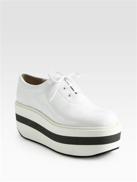 platform white sneakers jil sander navy textured leather laceup platform sneakers