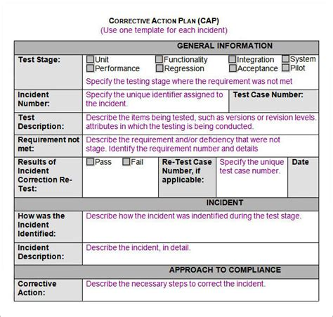 12 Action Plan Templates Sle Templates Plan Of Correction Template 2