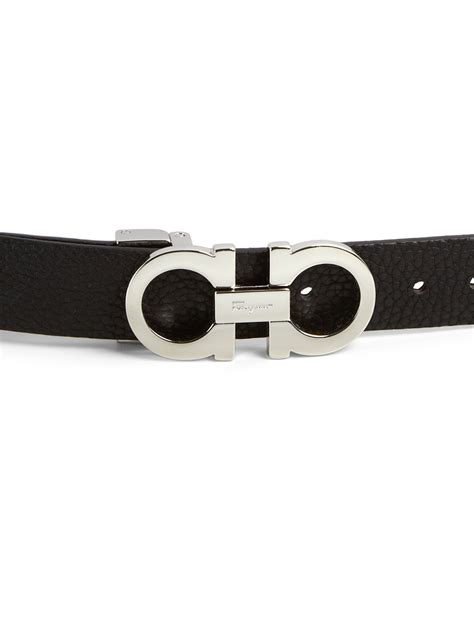 ferragamo gancini small leather belt in black lyst